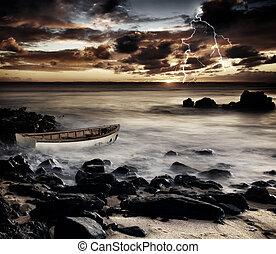 A storm strikes the coast