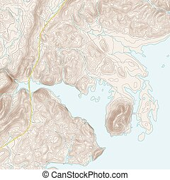 Coastal Topographic Map - Realistic Topographic map of an...