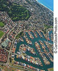 Coastal Town 4 - Aerial View of Coastal Town. View of...