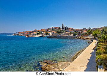 Coastal town of Kali skyline, Island of Ugljan, Dalmatia,...
