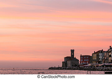 Piran - Coastal town of Piran just after the sunset