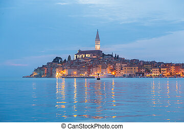 Coastal town of Rovinj, Istria, Croatia in sunset.