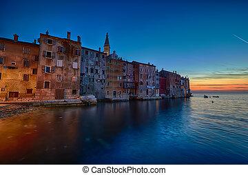 Coastal town of Rovinj, Istria, Croatia in sunset. Rovin beauty antiq city