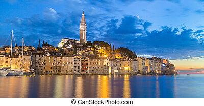Coastal town of Rovinj, Istria, Croatia in sunset. Romantic...