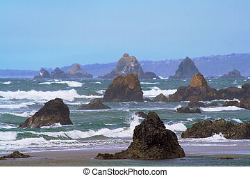 Coastal view from Bodega beach area showing crashing waves ...