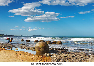 Moeraki Boulders, New Zealand - Coastal view, Moeraki...