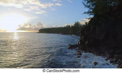 Coastal View of Hawaii at Sunrise - Sunrise coastal aerial...