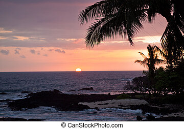 Coastal view of Hawaii at sunset