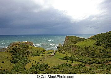 Coastal view of the Muelle De Las Almas, ocean in the background, Chiloe Island, Chile