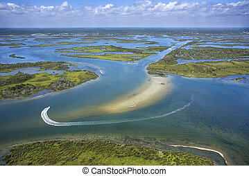 Coastal wetland marsh. - Aerial of wetlands at Cumberland...