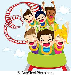 coaster, crianças, rolo