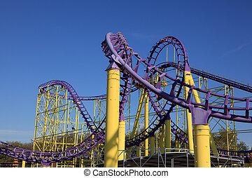 coaster rolo, em, um, parque tema