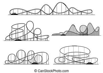 coaster, silhouettes., park, odizolowany, wektor, wałek, rollercoaster, fala, albo, rozrywka