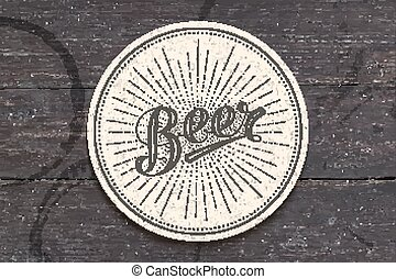Coaster with hand drawn lettering Beer - Coaster for beer...