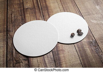 Coasters and coffee beans