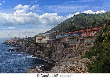 promenade in Genova Nervi - coastline and promenade in...