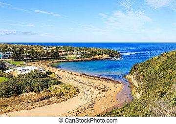 coastline and town of apollo bay ,australia