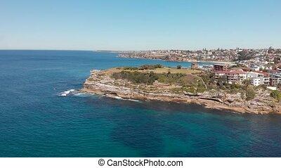 coastline, bondi, antena, plaża, prospekt, panoramiczny, ...