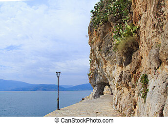 Coastline by the sea of Nafplio town in Greece