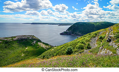 Coastline cliffs of Canadian National Historic site  Fort Amherst, St John's Newfoundland.