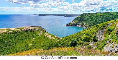 Coastline cliffs of Canadian National Historic site  Fort Amherst, St John's Newfoundland.