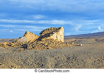 coastline in Lanzarote in Playa Blanca with destroyed old fisher