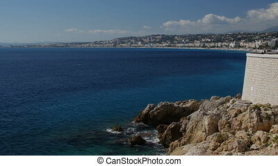 Coastline in Nice town, France.