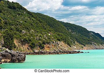 Coastline in the Gulf of La Spezia - Liguria Italy