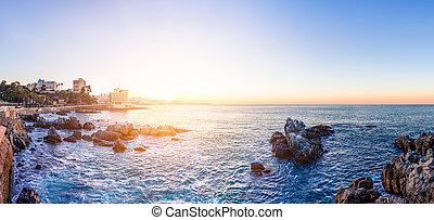 Panoramic view of the coastline in Vina del Mar, Chile