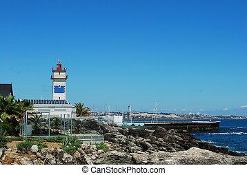 coastline, krajobraz, w, cascais, portugalia