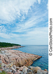 Coastline of Breton Highlands national park in Nova Scotia,...