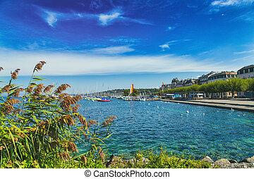 Coastline of Geneva Lake in the city, Switzerland