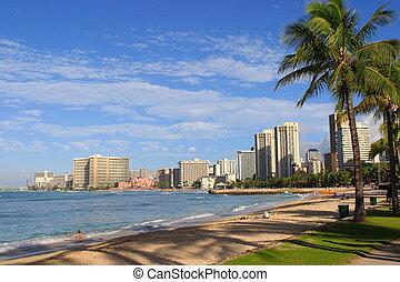 coastline of Honolulu fram waikiki beach, Hawaii