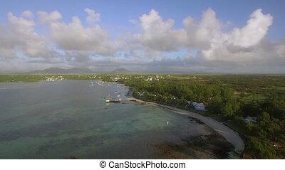 Coastline of Mauritius, aerial view - Aerial shot of...