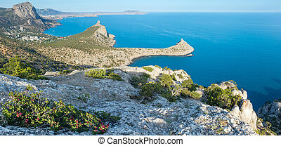 Coastline of Novyj Svit summer panorama (Crimea, Ukraine) -...