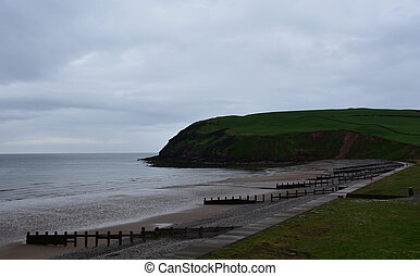 Coastline of St Bees with Dark Clouds Looming in the Sky