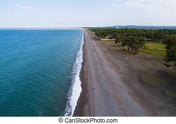 Coastline of the Black Sea coast near Kobuleti.