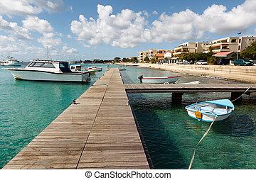 coastline on west coast of Bonaire with view on harbor of Kralendijk the capital city of Bonaire
