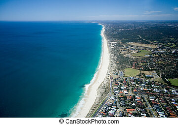 Beautiful aerial view of Perth's beach coastline, Western Australia.