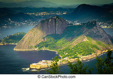 Coastline - High angle view of a coastline, Niteroi, Rio De...