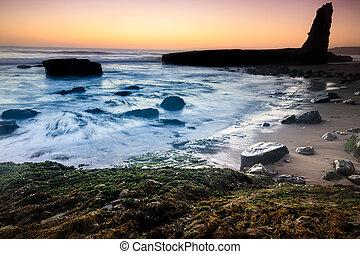 Coastline Sunset Silhouette.