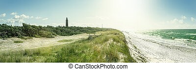 the famous brick lighthouse at darsser ort, germany
