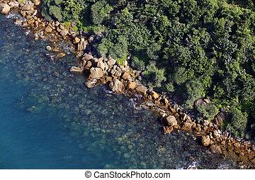 coastline., vacaciones, aéreo, rocoso, mar, turquesa,...