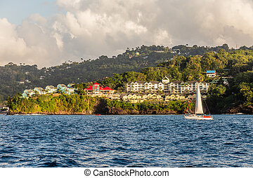 Coastline view with  villas and resorts on the hill, Castries, Saint Lucia