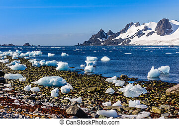 Coastline with stones and ice and cold still waters of antarctic sea lagoon with drifting icebergs and snow mountains in the background, Half Moon island, Antarctica