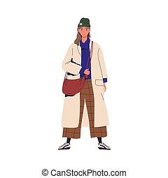 coat., aislado, moderno, otoño, carácter, mujer joven, descomunal, alegre, llevando, outwear., outfit., blanco, hembra, plano, vector, elegante, ilustración, moderno, se manifestar, caricatura