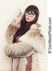 coat., brunette, fourrure, femme
