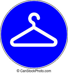 Coat check available blue sign on white background