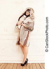 coat., fourrure, désinvolte, femme