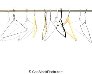 A coat hanger isolated against a white background